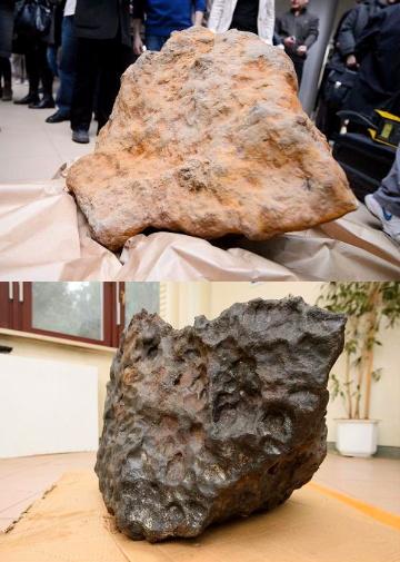 Météorite avant nettoyage (à gauche, 279 kg) et après nettoyage (à droite, 261kg).Crédits : PAP / JAKUB KACZMARCZYK
