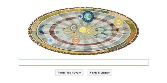 Le Doodle du jour est un système de planètes animé, en hommage à Copernic. (Capture d'écran Google)