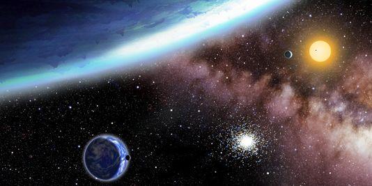 Vue d'artiste, diffusée par le Harvard Smithsonian Center for Astrophysics, des exoplanètes Kepler-62e et f. | AP