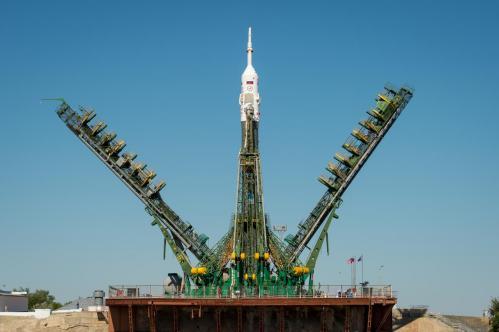 fusée Soyouz TMa-09M sur son pas de tir Source:Roscosmos