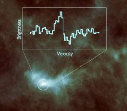 Figure 1: Relevé spectrométrique de Hifi de L1544, cœur d'une étoile naissante. La courbe produite indique notamment la présence de vapeur d'eau. (© ESA/Herschel/HIFI)