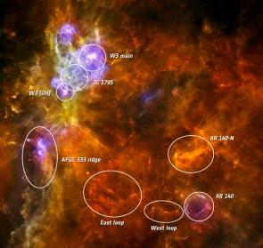 """Figure 2: Image des relevés combinés de Pacs (en bleu) et Spire (en rouge) dans la région W3 de notre galaxie. Des structures filamentaires sont visibles (""""East loop"""" et """"West loop"""").  (© ESA/Herschel/PACS&SPIRE)"""
