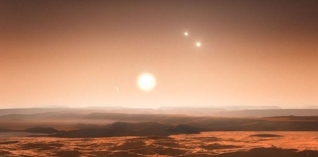 ACCUEIL > ESPACE > EXOPLANÈTES: DÉCOUVERTE DE TROIS SUPER-TERRES ! Exoplanètes: découverte de trois super-terres ! Créé le 25-06-2013 à 15h37 - Mis à jour à 16h42Par Joël Ignasse Sciences et Avenir Autour du système Gliese 667, composé d'un triplé d'étoiles, les astronomes ont identifié sept planètes dont trois super-terres situées dans la zone habitable.  Mots-clés : ETOILES, EXOPLANETE, gliese, habitable PARTAGERRÉAGIR0Abonnez-vous à Sciences et avenir Le système Glies 667 est composé d'un triplé d'étoile. ESO/M. Kornmesser