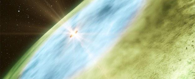 Vue d'artiste de la limite neigeuse située dans le disque qui entoure l'étoile TW Hydrae.