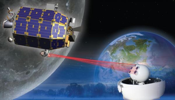 Vue d'artiste de la sonde LADEE et de son système de communication avec la Terre par laser (Nasa). crédit:Slate.fr