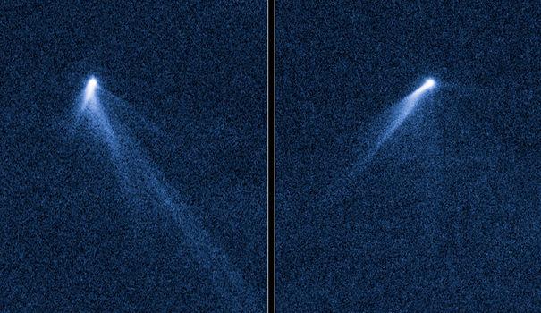 Des astronomes américains ont exprimé jeudi leur étonnement après avoir observé, avec le télescope spatial Hubble, un astéroïde sans précédent tournant sur lui-même et éjectant de la poussière formant six queues, comme une comète.  Source : afp.com/HANDOUT