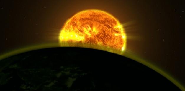 Illustration montrant une étoile éclairant l'atmosphère d'une exoplanète. NASA's Goddard Space Flight Center