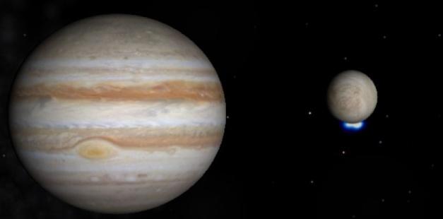 Vue d'artiste d'Europe et Jupiter. K. Retherford, Southwest Research Institute