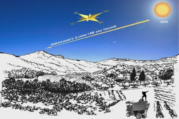reconstitution de l'observation de Monsieur Patrick Combescot. Cette représentation graphique a été faite par le témoin lui-même. On distingue au premier plan à droite de l'image la machine agricole sur laquelle travaillait M. Combescot. Au-dessus à droite est représenté l'ovni qui avait la forme d'une boule orange. L'ovni s'est déplacé en une seconde en direction d'une colline (à gauche de l'image) qui se trouvait à un kilomètre du lieu de l'observation.