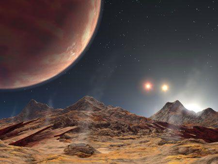 Crédit Futura Sciences - Vue d'artiste du système planétaire HD 188753, sa planète et ses 3 étoiles !