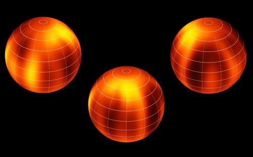 Sur cette illustration réalisée à partir des données observationnelles collectées par Ian Crossfield et al. la différence réelle de luminosité entre les régions représentées en noir et celles qui sont représentées en orange est de 10 % environ. On distingue clairement une région plus brillante proche du pôle de la naine brune Luhman 16B, peut-être du même type que les vortex mis en évidence sur des planètes du Système solaire comme Jupiter et Saturne. © ESO/Ian Crossfield