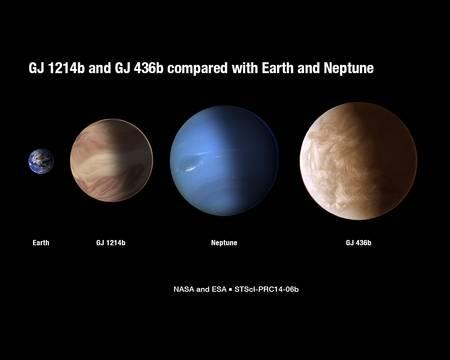 Une comparaison de la taille des exoplanètes GJ 1214b et GJ 436b, dont on a étudié plus précisément l'atmosphère avec Hubble, avec celle de la Terre et de Neptune. Leurs atmosphères sont complètement différentes de celles que l'on connaît dans le Système solaire. © Nasa, Esa, A. Feild, G. Bacon (STScI)