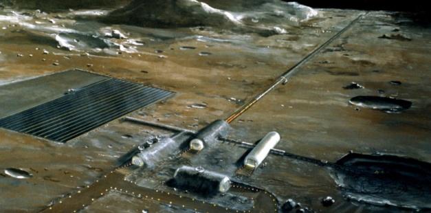 Image d'artiste d'une base lunaire NASA
