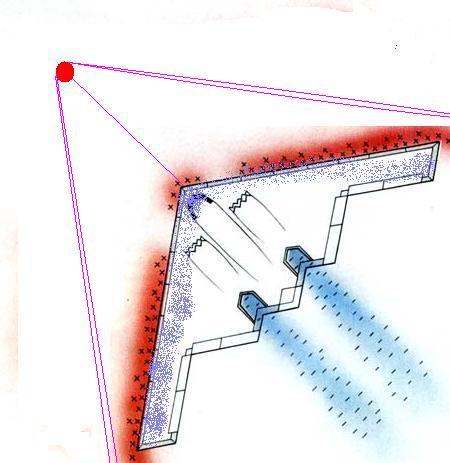 Le B2 vu de haut, son plasmoïde en amont, le bord d'attaque électrisé et son nuage de Hall supérieur, ses générateurs à flammes à l'arrière crédit schéma: http://www.ovni.ch/~kouros/emhd.htm