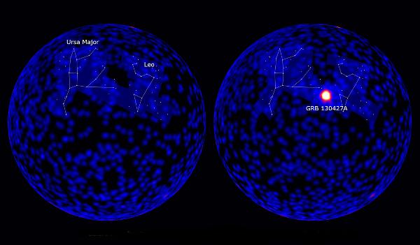 Le ciel vu par le détecteur LAT du satellite Fermi avant (à gauche) et pendant (à droite) le sursaut gamma. Crédit: technofuture.canalblog.com/