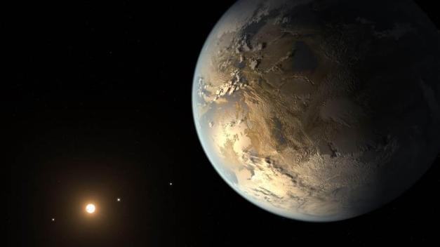 Vue d'artiste de Kepler-186f, qui se trouve dans un système stellaire situé à 490 années-lumière du Soleil. (AMES / JPL-CALTECH / T. PYLE / NASA)