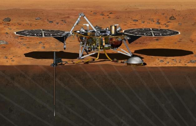 La mission InSight va déposer un sismomètre sur la surface de Mars pour étudier sa structure et sa composition intérieure. Lancement prévu en mars 2016. Crédit: NASA/JPL