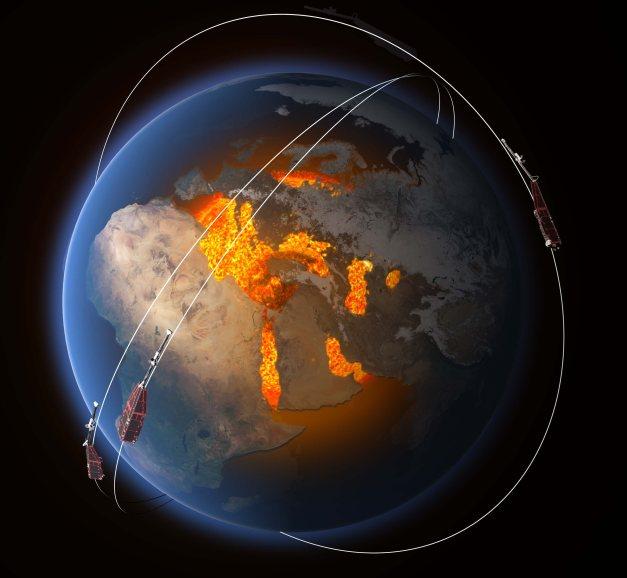 Vue d'artiste de la constellation de satellites de la mission Swarm (Crédits : ESA/ATG Medialab) - detude-du-champ-magnetique-terrestre