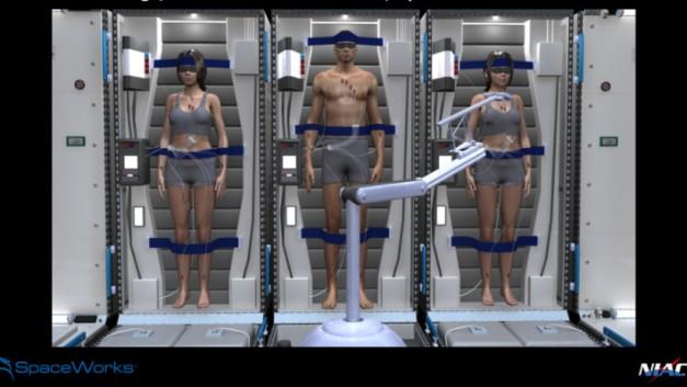 Vue d'artiste de ce à quoi pourrait ressembler les voyages vers Mars, dans le futur. - © Document SpaceWorks