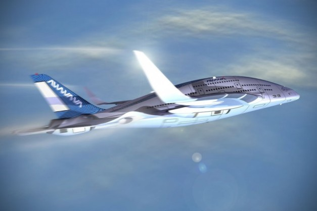 Trois ponts, un fuselage massif, des moteurs orientables : le designer Oscar Viñals s'est amusé à imaginer un avion réunissant quelques-unes des idées actuelles qui tournent dans la tête des avionneurs. Ici, le fuselage est censément porteur (sa forme crée une portance). À regarder ce dessin, on peut douter de son efficacité, mais le principe est bon. © Oscar Viñals