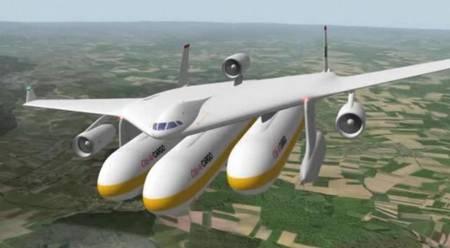 Une aile volante porte trois conteneurs détachables qui peuvent accueillir des passagers ou du fret. Le Clip-Air est un concept né à l'EPFL (École polytechnique fédérale de Lausanne) pour un transport plus souple. L'embarquement des passagers ou le chargement du fret se feraient alors que l'avion porteur n'est pas encore là. De même pour le débarquement ou le déchargement. L'imagination des ingénieurs vaut bien celle des designers... © EPFL