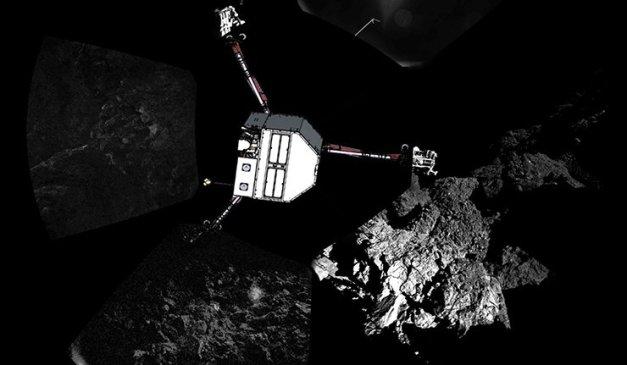© Photo: REUTERS/ESA/Rosetta/Philae/CIVA Lire la suite: http://french.ruvr.ru/news/2014_11_15/La-comete-fait-des-sons-bizarres-astrophysicien-Tchourioumov-8436/