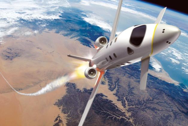 Le Spaceplane d'Airbus Espace, ici vu dans sa configuration de 2007. Il est conçu pour des vols à la frontière de l'espace. Par convention, cette frontière entre la Terre et l'espace a été fixée à 100 km d'altitude. © Airbus Espace
