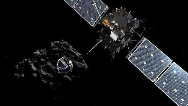 Visualisation de la sonde Rosetta lançant le robot Philae sur la comète Tchouri, le 12 novembre 2014. (AGENCE SPATIALE EUROPEENNE / ANADOLU AGENCY / AFP)