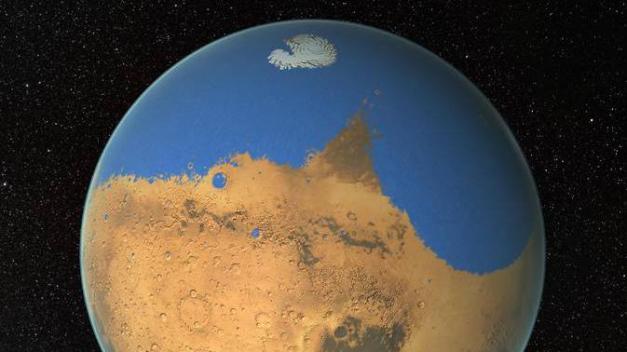 L'océan qui occupait l'hémisphère nord de Mars dans la jeunesse de la planète rouge occupait 19% de sa surface, selon la Nasa. (NASA / GSFC)