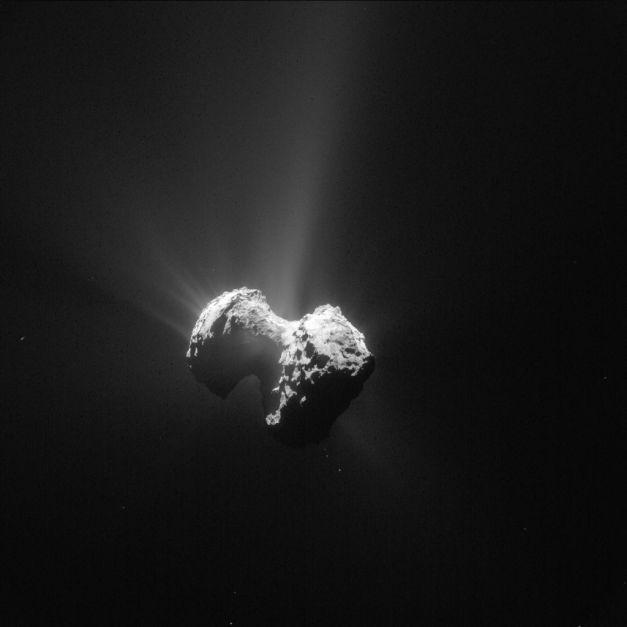 La comète 67P/Churyumov-Gerasimenko photographiée le 20 juillet par la sonde Rosetta, à 171 km du centre du noyau. À l'approche du périhélie, le 13 août 2015, son activité n'a de cesse d'augmenter. Philae repose sur le plus petit des deux lobes de cet astre d'un peu plus de 4 km de longueur. La résolution est de 14,5 m par pixel. © Esa, Rosetta, NavCam – CC BY-SA IGO 3.0