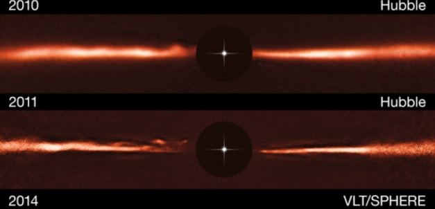 Using images from the NASA/ESA Hubble Space Telescope and ESO's Very Large Telescope, astronomers have discovered fast-moving wave-like features in the dusty disc around the nearby star AU Microscopii. These odd structures are unlike anything ever observed, or even predicted, before now. The top row shows a Hubble image of the AU Mic disc from 2010, the middle row Hubble from 2011 and the bottom row is an image taken with the SPHERE instrument, mounted on the Very Large Telescope, from 2014. The black central circles show where the brilliant light of the central star has been blocked off to reveal the much fainter disc, and the position of the star is indicated schematically.