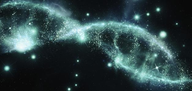 Sparkling dna double helix of stars in night sky --- Image by © Ian Cuming/Ikon Images/Corbis