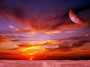 Vue d'artiste depuis une exolune. Sa planète hôte ainsi que son étoile sont visibles. crédit illustration: wikipedia.org/